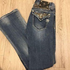 Miss Me Black Rhinestone Med Wash Jeans Sz 27